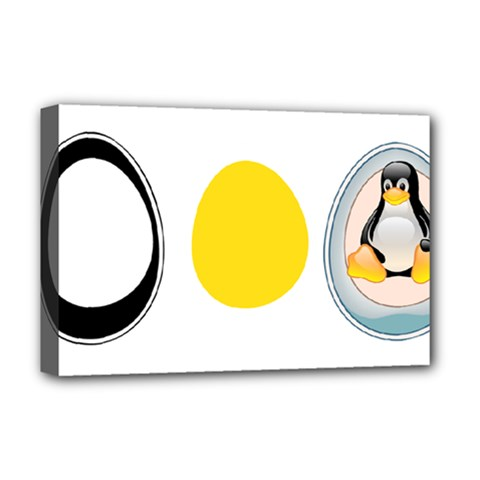 Linux Tux Penguin In The Egg Deluxe Canvas 18  X 12  (framed) by youshidesign
