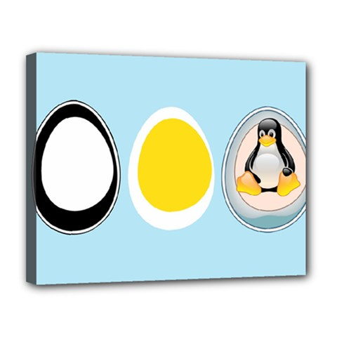 Linux Tux Penguin In The Egg Canvas 14  X 11  (framed) by youshidesign