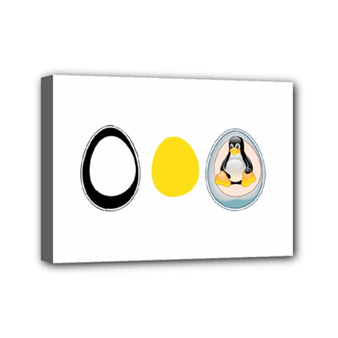 Linux Tux Penguin In The Egg Mini Canvas 7  X 5  (framed) by youshidesign