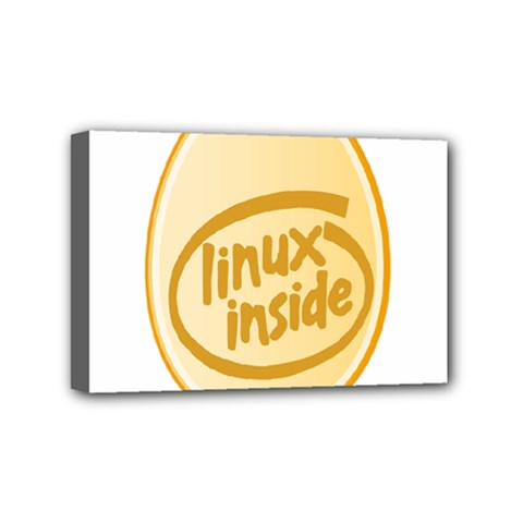 Linux Inside Egg Mini Canvas 6  X 4  (framed)