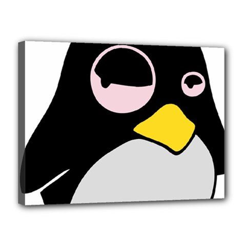 Lazy Linux Tux Penguin Canvas 16  X 12  (framed) by youshidesign