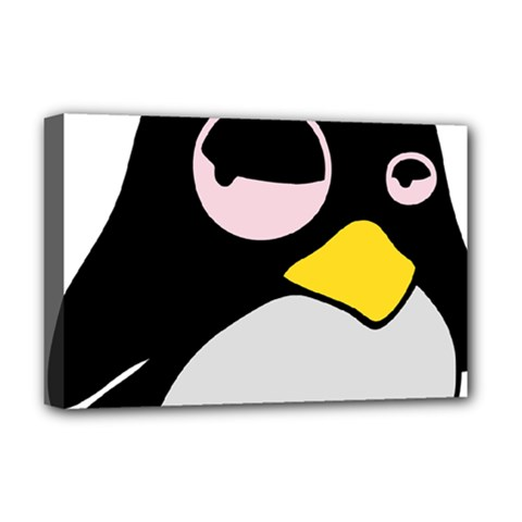 Lazy Linux Tux Penguin Deluxe Canvas 18  X 12  (framed) by youshidesign
