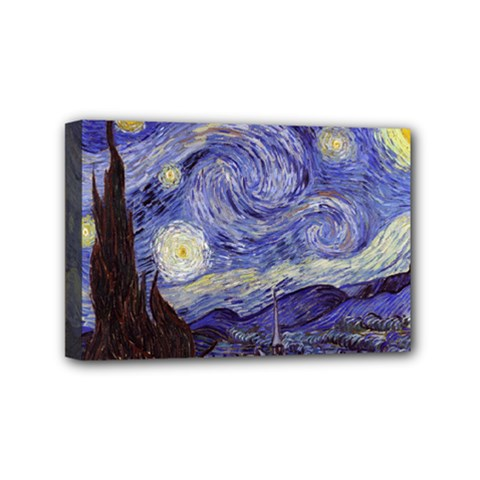 Vincent Van Gogh Starry Night Mini Canvas 6  X 4  (framed) by MasterpiecesOfArt