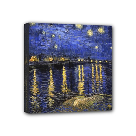 Vincent Van Gogh Starry Night Over The Rhone Mini Canvas 4  X 4  (framed) by MasterpiecesOfArt