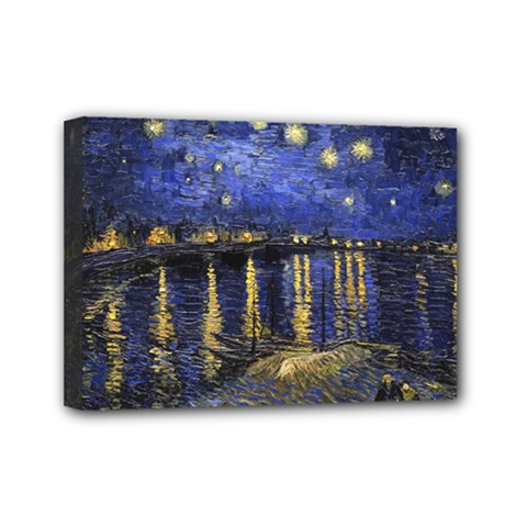 Vincent Van Gogh Starry Night Over The Rhone Mini Canvas 7  X 5  (framed) by MasterpiecesOfArt