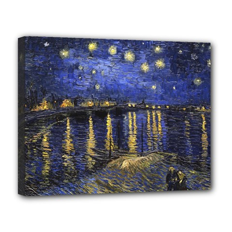 Vincent Van Gogh Starry Night Over The Rhone Canvas 14  X 11  (framed) by MasterpiecesOfArt