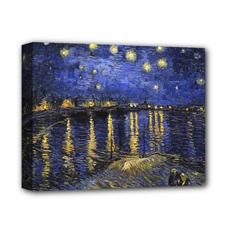 Vincent Van Gogh Starry Night Over The Rhone Deluxe Canvas 14  X 11  (framed) by MasterpiecesOfArt
