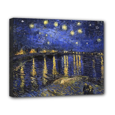 Vincent Van Gogh Starry Night Over The Rhone Deluxe Canvas 20  X 16  (framed) by MasterpiecesOfArt