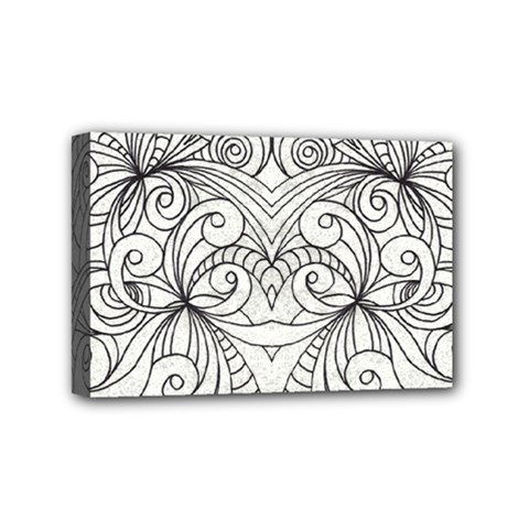 Drawing Floral Doodle 1 Mini Canvas 6  X 4  (framed) by MedusArt