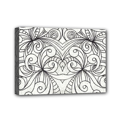 Drawing Floral Doodle 1 Mini Canvas 7  X 5  (framed) by MedusArt