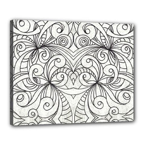 Drawing Floral Doodle 1 Canvas 20  X 16  (framed) by MedusArt