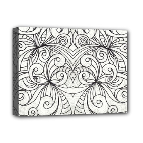Drawing Floral Doodle 1 Deluxe Canvas 16  X 12  (framed)  by MedusArt