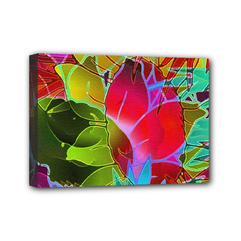 Floral Abstract 1 Mini Canvas 7  X 5  (framed) by MedusArt