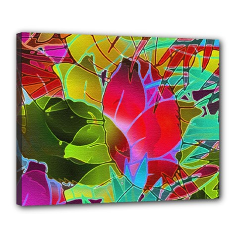 Floral Abstract 1 Canvas 20  X 16  (framed) by MedusArt