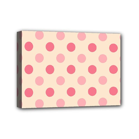 Pale Pink Polka Dots Mini Canvas 7  X 5  (framed) by Colorfulart23