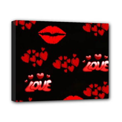 Love Red Hearts Love Flowers Art Canvas 10  X 8  (framed) by Colorfulart23