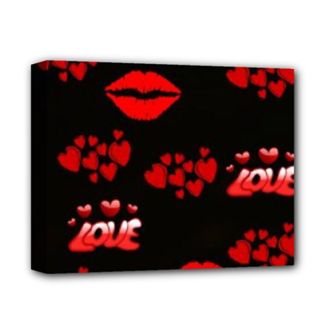 Love Red Hearts Love Flowers Art Deluxe Canvas 14  x 11  (Framed) by Colorfulart23