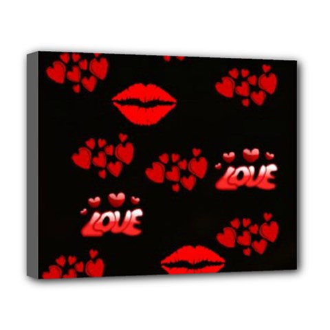 Love Red Hearts Love Flowers Art Deluxe Canvas 20  x 16  (Framed) by Colorfulart23