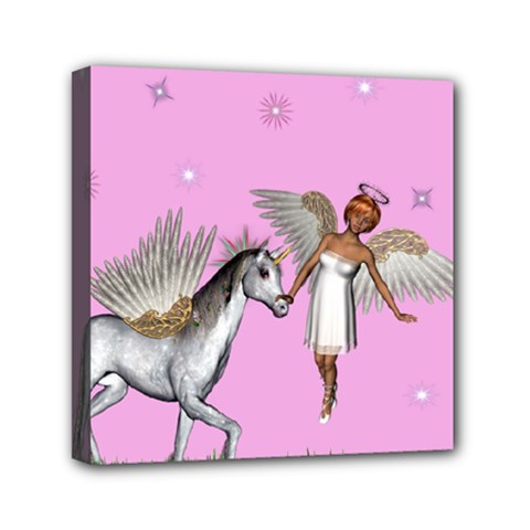 Unicorn And Fairy In A Grass Field And Sparkles Mini Canvas 6  X 6  (framed) by goldenjackal
