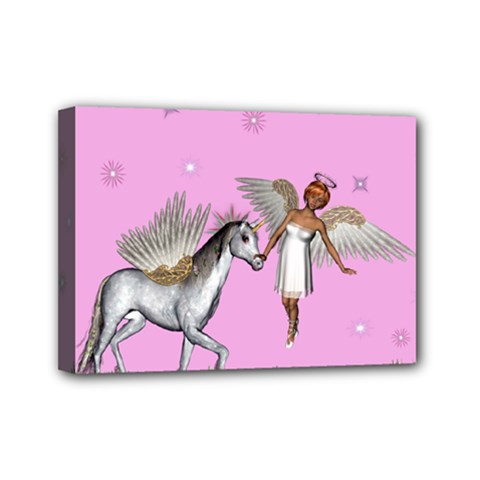 Unicorn And Fairy In A Grass Field And Sparkles Mini Canvas 7  X 5  (framed) by goldenjackal