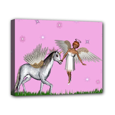 Unicorn And Fairy In A Grass Field And Sparkles Canvas 10  X 8  (framed)