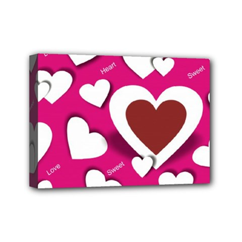 Valentine Hearts  Mini Canvas 7  X 5  (framed) by Colorfulart23