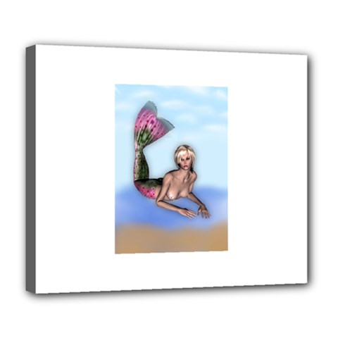 Mermaid On The Beach Deluxe Canvas 24  X 20  (framed) by goldenjackal