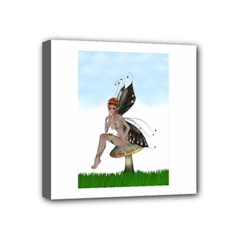 Fairy Sitting On A Mushroom Mini Canvas 4  X 4  (framed) by goldenjackal