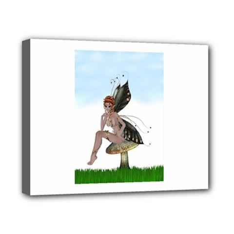 Fairy Sitting On A Mushroom Canvas 10  X 8  (framed) by goldenjackal