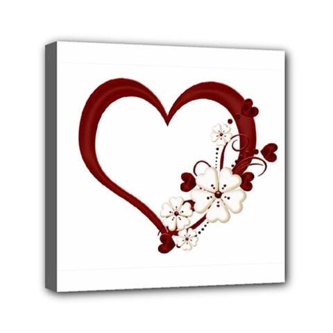 Red Love Heart With Flowers Romantic Valentine Birthday Mini Canvas 6  X 6  (framed) by goldenjackal