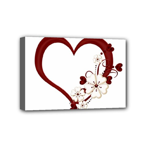 Red Love Heart With Flowers Romantic Valentine Birthday Mini Canvas 6  X 4  (framed) by goldenjackal