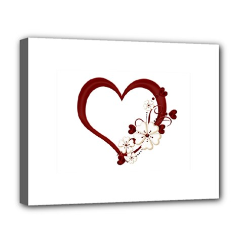 Red Love Heart With Flowers Romantic Valentine Birthday Deluxe Canvas 20  X 16  (framed) by goldenjackal