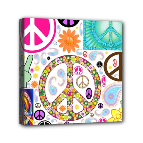 Peace Collage Mini Canvas 6  X 6  (framed) by StuffOrSomething