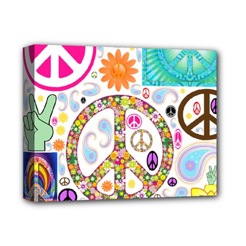 Peace Collage Deluxe Canvas 14  X 11  (framed) by StuffOrSomething