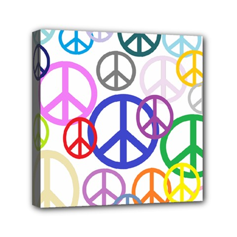 Peace Sign Collage Png Mini Canvas 6  X 6  (framed) by StuffOrSomething