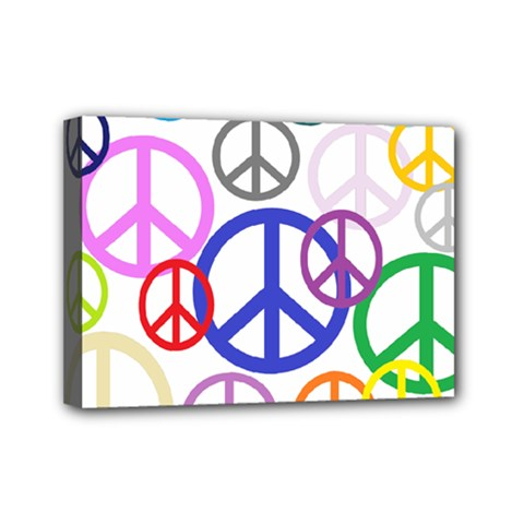 Peace Sign Collage Png Mini Canvas 7  X 5  (framed)