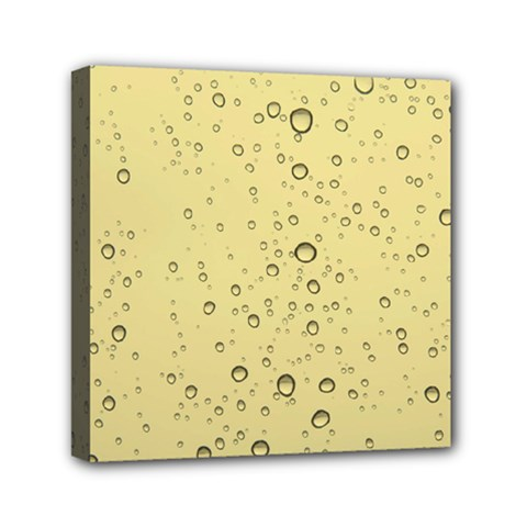 Yellow Water Droplets Mini Canvas 6  X 6  (framed) by Colorfulart23