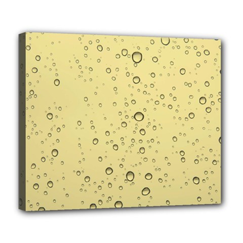 Yellow Water Droplets Deluxe Canvas 24  X 20  (framed) by Colorfulart23