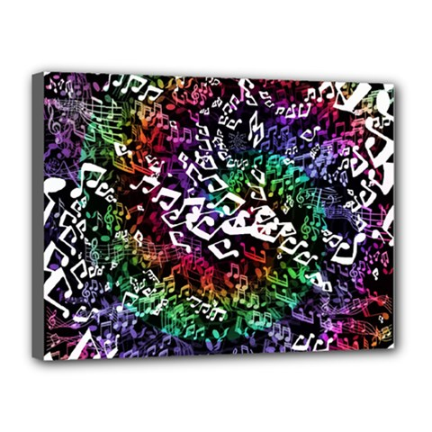 Urock Musicians Twisted Rainbow Notes  Canvas 16  X 12  (framed) by UROCKtheWorldDesign