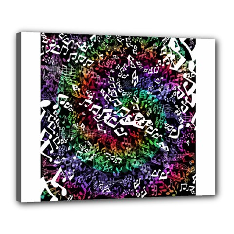 Urock Musicians Twisted Rainbow Notes  Canvas 20  X 16  (framed) by UROCKtheWorldDesign
