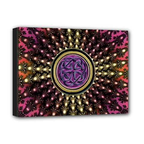 Hot Radiant Fractal Celtic Knot Deluxe Canvas 16  x 12  (Stretched)