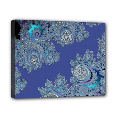 Blue Metallic Celtic Fractal Canvas 10  X 8  (framed) by UROCKtheWorldDesign
