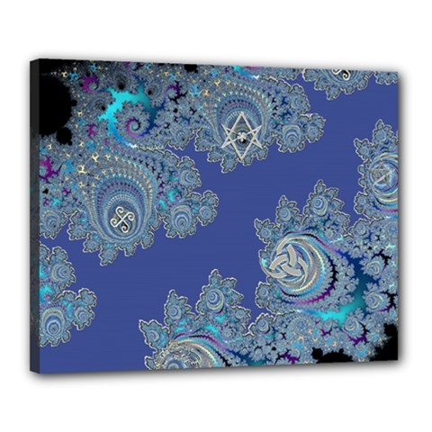 Blue Metallic Celtic Fractal Canvas 20  X 16  (framed) by UROCKtheWorldDesign