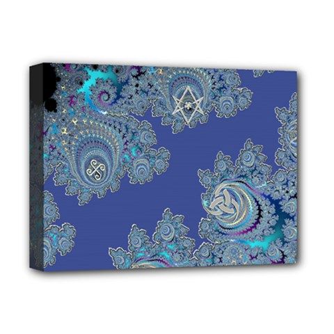 Blue Metallic Celtic Fractal Deluxe Canvas 16  X 12  (framed)  by UROCKtheWorldDesign