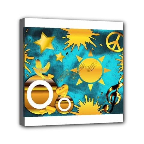 Musical Peace Mini Canvas 6  X 6  (framed) by StuffOrSomething