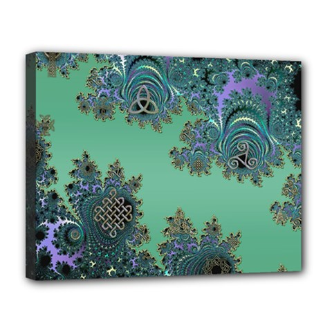 Celtic Symbolic Fractal Canvas 14  X 11  (framed) by UROCKtheWorldDesign