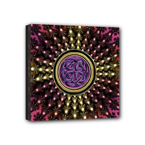 Hot Lavender Celtic Fractal Framed Mandala Mini Canvas 4  X 4  (framed) by UROCKtheWorldDesign