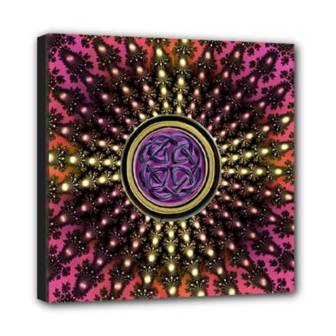 Hot Lavender Celtic Fractal Framed Mandala Mini Canvas 8  X 8  (framed)