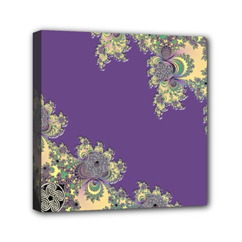 Purple Symbolic Fractal Mini Canvas 6  X 6  (framed) by UROCKtheWorldDesign
