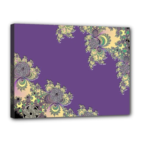 Purple Symbolic Fractal Canvas 16  X 12  (framed) by UROCKtheWorldDesign